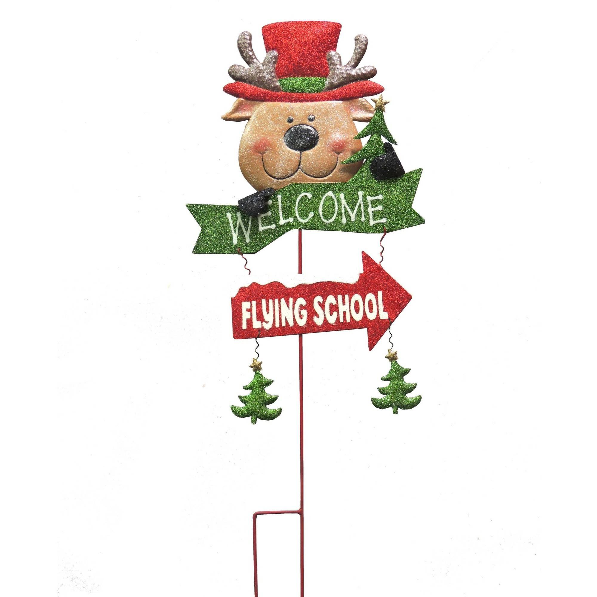 "Stake Christmas Trees: Holiday Time Christmas Decor 28"" Reindeer Metal Yard Stake"