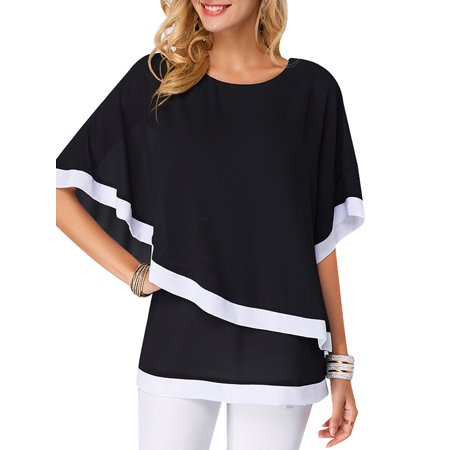 DYMADE Women's Loose Chiffon Batwing Short Flutter Sleeve Blouse Tops