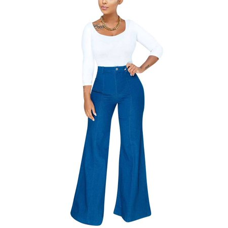 (Women's Wide Leg Jeans Casual Loose Fit Mid Rise Trousers Contrast Pants)