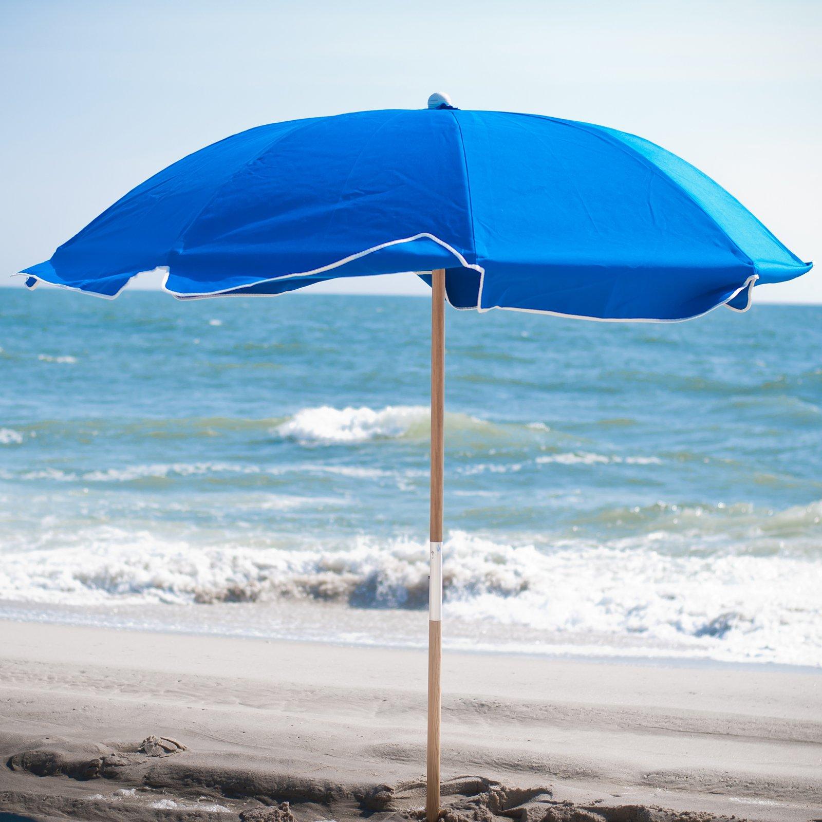 Frankford Umbrella Avalon Collection 7.5 ft. Commercial Fiberglass Beach Umbrella with Ashwood Pole