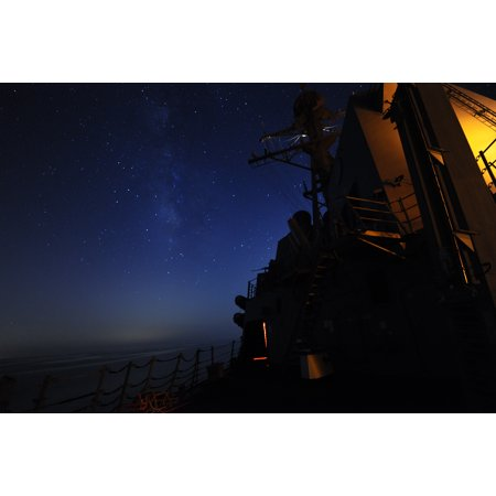 LAMINATED POSTER The guided-missile destroyer USS Truxtun (DDG 103) transits the Arabian Gulf at night. Truxtun is de Poster Print 24 x - Halloween Night Uss Dates