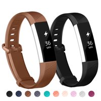 POY 2-Pack Replacement Sport Wrist Strap Bands for Fitbit Alta/Fitbit Alta HR (Black, Coffee)