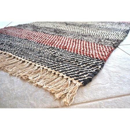St. Croix Trading Company Hand-woven Striped Leather Chindi Rug - 2'5 x 4'2 (Imperial Trading Company)