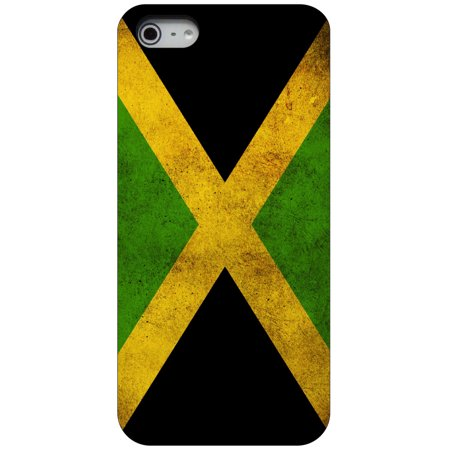 CUSTOM Black Hard Plastic Snap-On Case for Apple iPhone 5 / 5S / SE - Jamaica Old