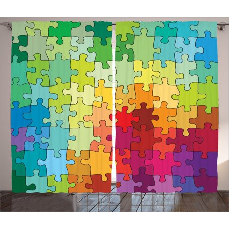 Abstract Curtains 2 Panels Set, Colorful Puzzle Pieces Fractal Children Hobby Activity Leisure Toys Cartoon Image, Window Drapes for Living Room Bedroom, 108W X 63L Inches, Multicolor, by -
