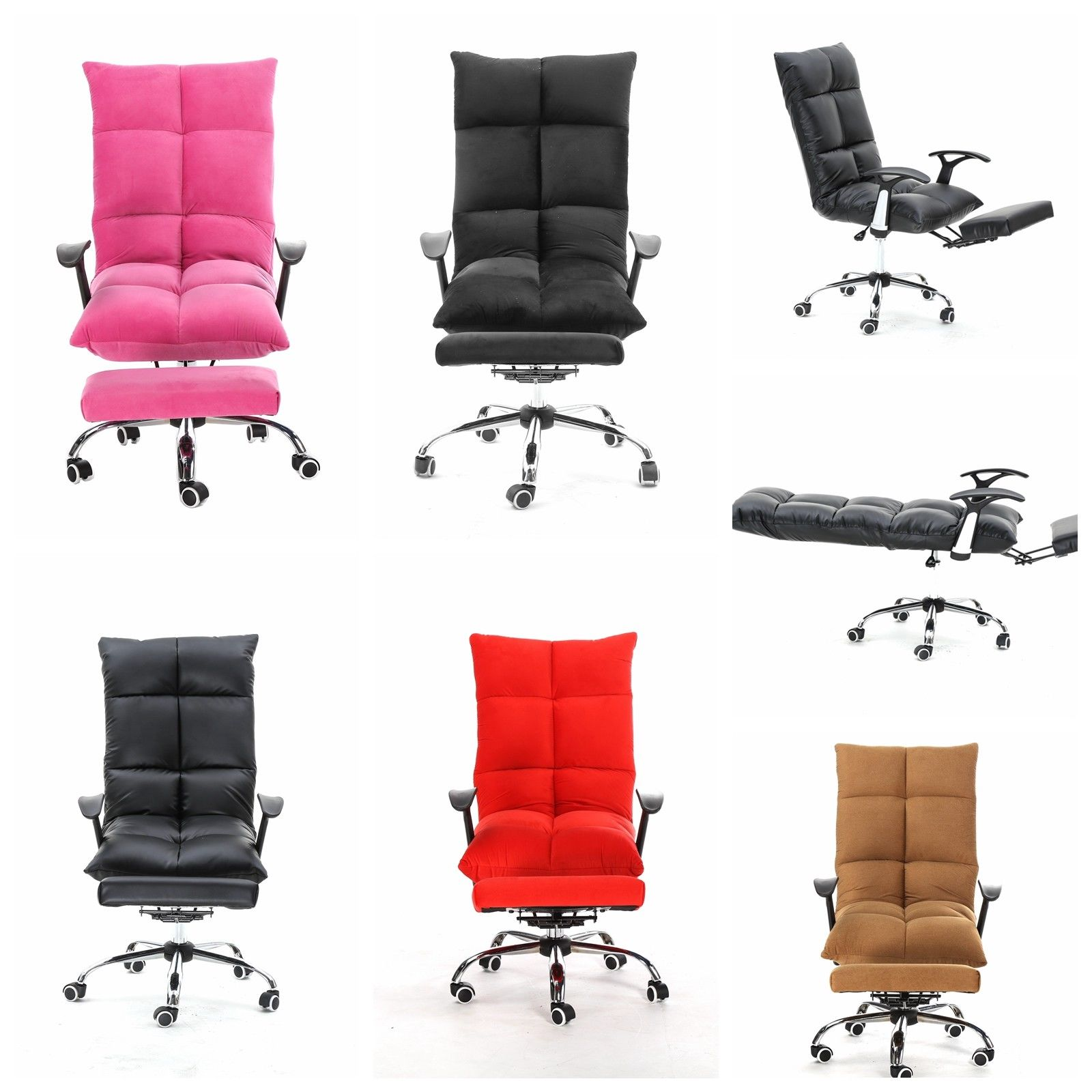 5-Position Mul-functional Tatami Home Office Computer Desk Chair With Adjustable Headrest Footrest Lay Flat Pink