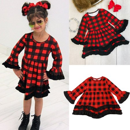 Girls Long Sleeve Dress Toddler Kids Princess Plaids Party Pageant Tutu - Girls Plaid Dress