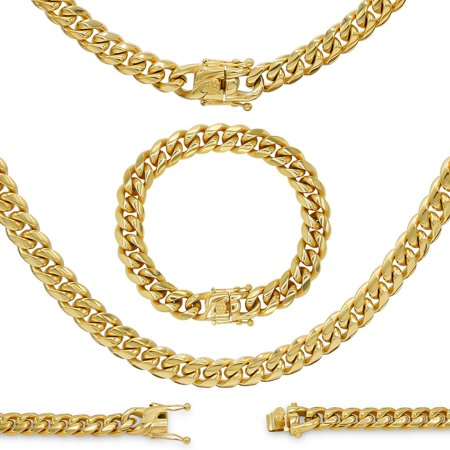BEBERLINI Cuban Link Necklace and Bracelet Set 18k Gold Plated with Box Clasp Miami Chain Cuban Stainless Steel Fashion Jewelry 10 mm Men Women Stainless Steel Magnetic Link Necklace
