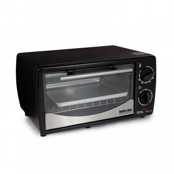 Better Chef 9 Liter Toaster Oven Broiler- Black With Stainless Steel Front by