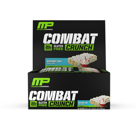 MusclePharm Combat Crunch Protein Bar, Birthday Cake, 20g Protein, 12 -