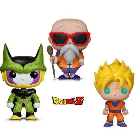 Warp Gadgets Bundle - Funko Pop Animation Dragonball Z - Perfect Cell, Super Saiyan Goku & Master Roshi W/ Staff (3 Items)