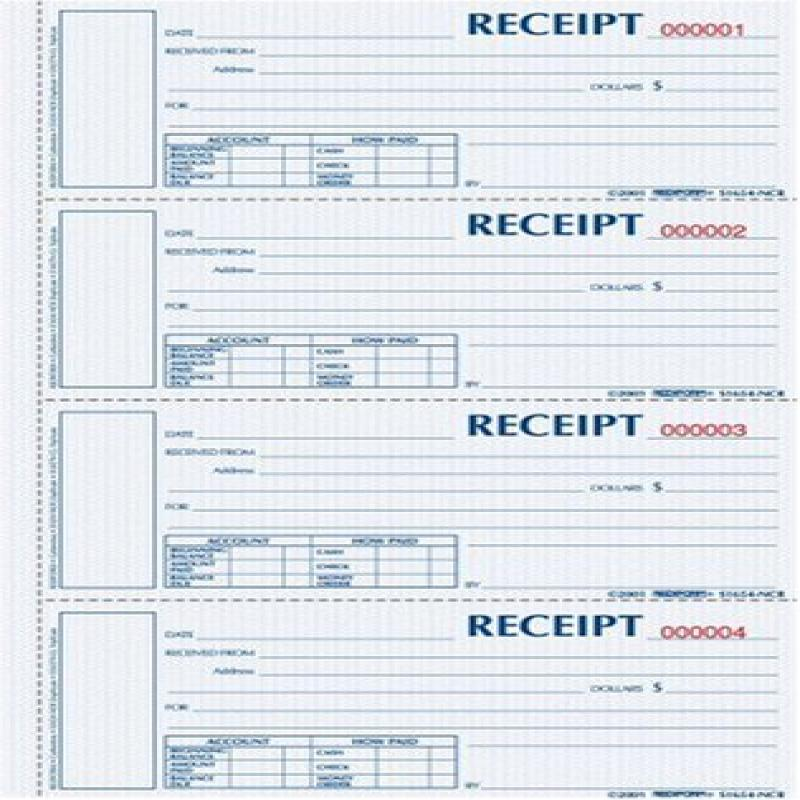 BLUELINE Rediform Money Receipt Book, Hardbound, 2 x 6.875, 4 per Page, 200 Triplicates (S1657NCL) by 0