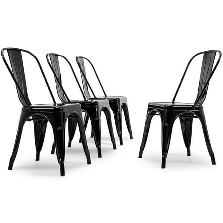Belleze Modern Industrial Stackable Side Chair Dining Cafe Bar Set of (4), Black Chippendale Bar Side Chair
