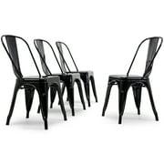 Belleze Modern Industrial Stackable Side Chair Dining Cafe Bar Set of (4), Black