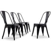 Belleze Modern Industrial Stackable Side Chair Dining Cafe Bar Set of (4), Black