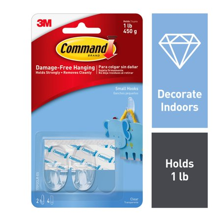 Command Clear Small Hooks, 2 Hooks, 4 Strips/Pack