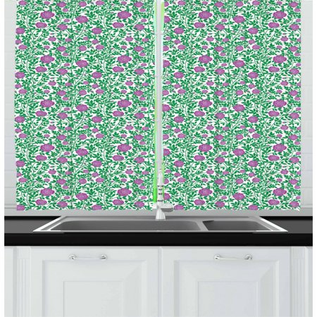 Rose Curtains 2 Panels Set, Gardening Theme with Intertwined Thorny Stems Rose Buds and Petals, Window Drapes for Living Room Bedroom, 55W X 39L Inches, Fuchsia Forest Green White, by - Forest Themed Room Ideas
