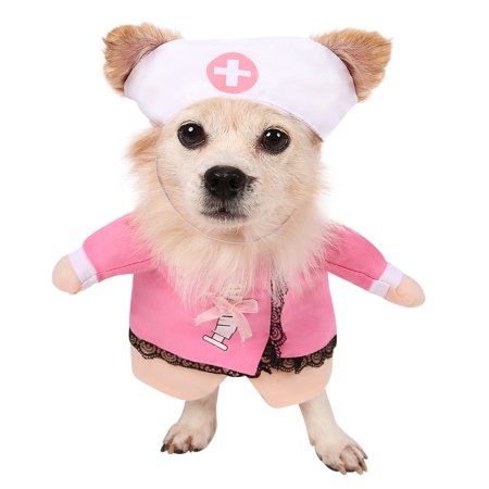 HDE Nurse Dog Costume Halloween Pet Apparel Hat with Pink Nurses Smock for Small and Medium Dogs (Pink, - Halloween Costumes For Large Dogs 2017