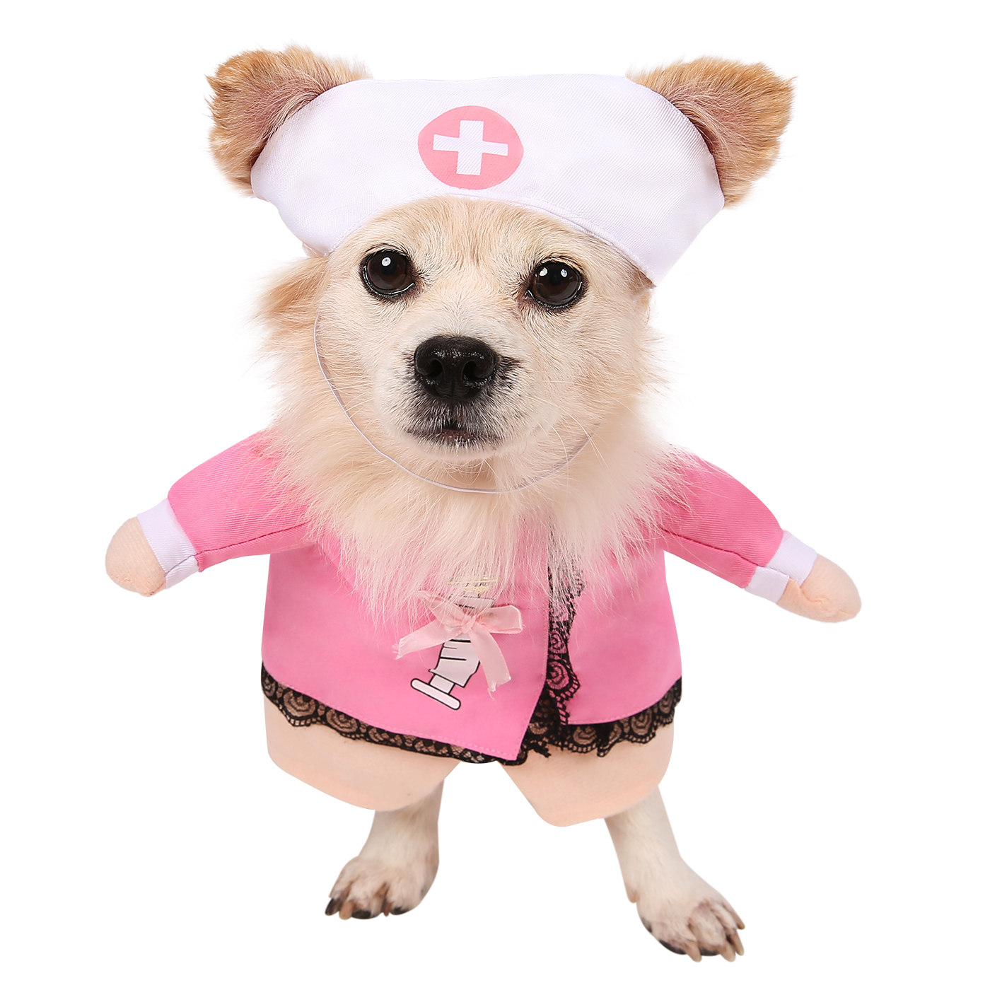 HDE Nurse Dog Costume Halloween Pet Apparel Hat with Pink Nurses Smock for Small and Medium Dogs (Pink, Large)
