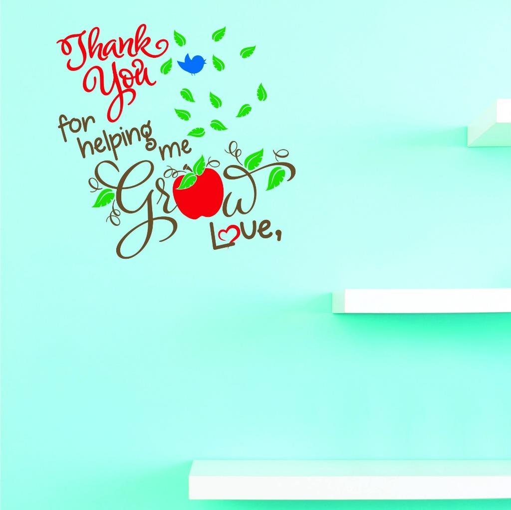 Custom Decals Thank You For Helping Me Grow Love Wall Art Size: 12 X 12 Inches Color: Multi