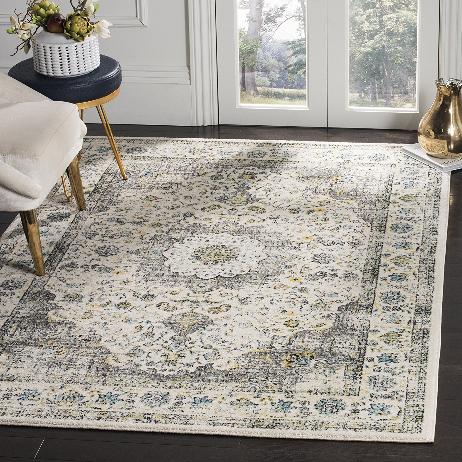 Safavieh Evoke Collection EVK220B Vintage Oriental Grey and Gold Area Rug (8' x 10')