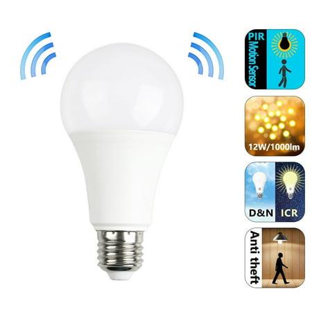 EEEKit E27 7W/12W 6500K Radar Sensor LED Light Bulbs Auto On/Off Bubble Ball Bulb Lamp with Motion Sensor for Bedroom, Restroom, Stairs, Hallway, Courtyard, Entrance, Cool White