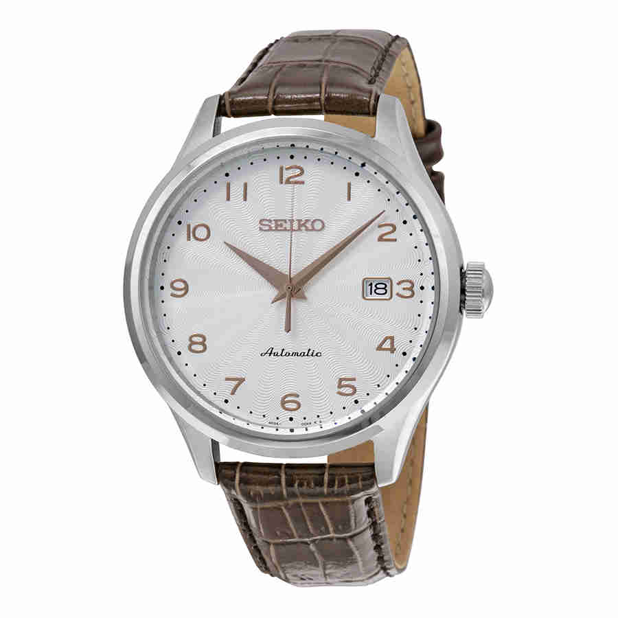 Seiko Automatic Silver Dial Brown Leather Mens Watch SRP705