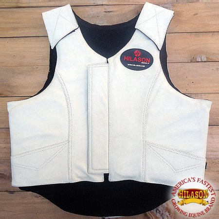 HILASON HORSE RIDING PRO RODEO LEATHER PROTECTIVE VEST GEAR EQUIPMENT WHITE