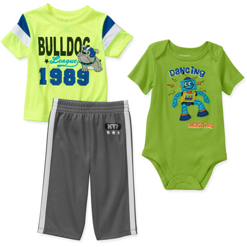 Garanimals Newborn Boys' 3 Piece Creeper and Pant Set