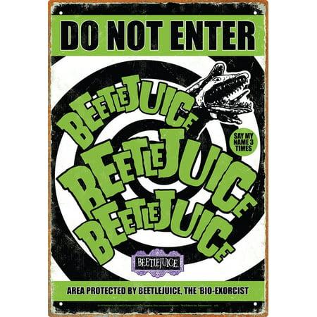 Beetlejuice Do Not Enter Tin Sign, Measures 8.5 x 11 By Aquarius ()
