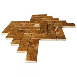 Multi Brown Onyx Herring Bone Mosaic Tile
