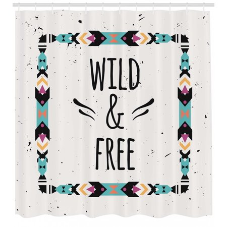 Tribal Shower Curtain Abstract Geometrical Frame Wild And Free Quote Boho Style Art Print