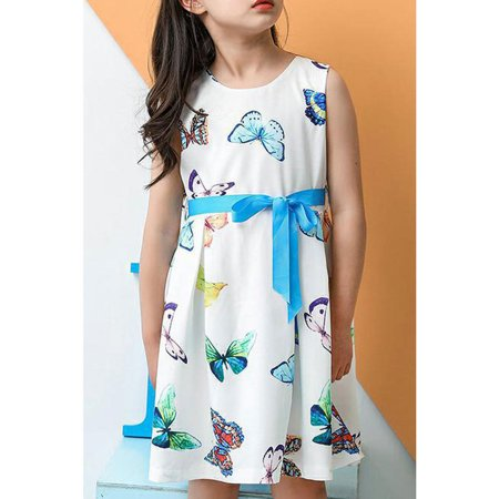 Kids Girls Butterfly Printed Cute Flare - Girls Butterfly Dress