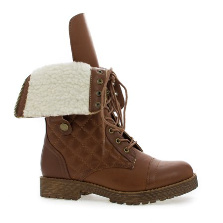 Mid Calf Quilted Foldable Shaft Faux Shearling Military Boots