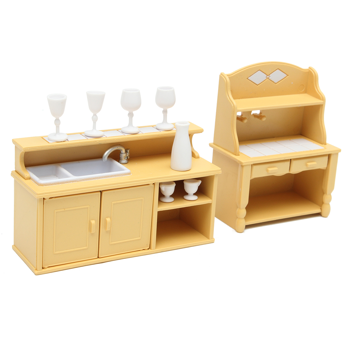 Room Furniture Kit Dollhouses & Play Sets Baby Doll Accessories Kitchen Cabinets Set For Sylvanian Families Calico Critters Dolls