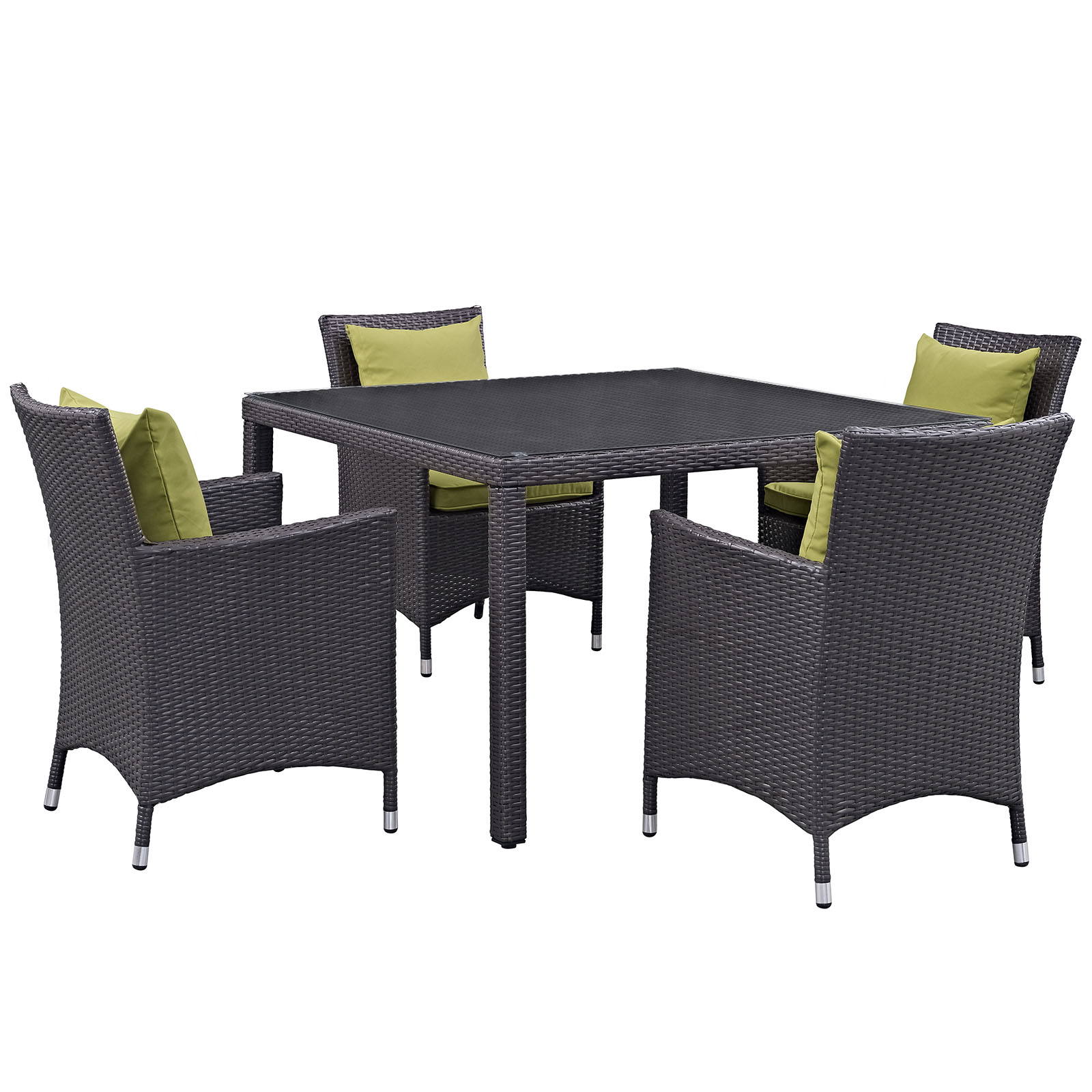 Modern Contemporary Urban Design Outdoor Patio Balcony Five PCS Dining Chairs and Table Set, Green, Rattan