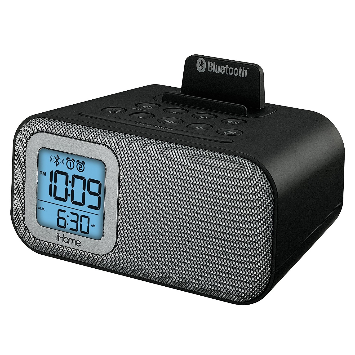 iHome Wireless Bluetooth Dual Alarm Clock with USB Charging and Line-in