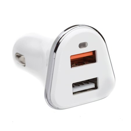 Offex  2 Port USB Car Charger, 2 x USB A, 5V 3A, Cigarette Lighter Plug, features Quick Charge v3.0 - White