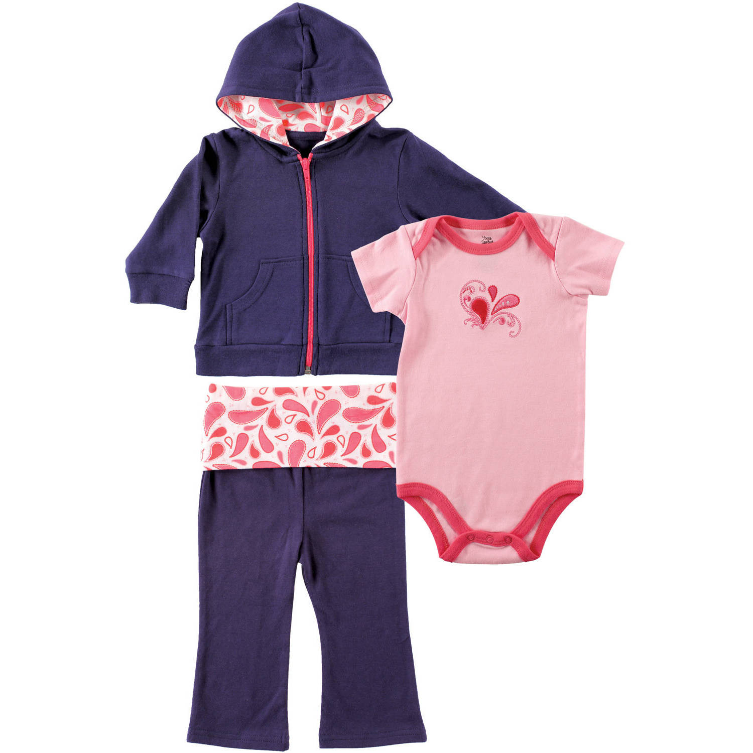 Yoga Sprout Newborn Baby Girls Paisley Hoodie, Bodysuit & Pants Set