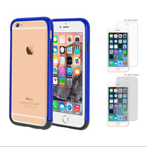 iPhone 6 Case Bundle (Case + Screen Protectors), roocase iPhone 6 4.7 Strio Bumper Open Back with Corner Edge Protection Case Cover with 4-Pack Screen Protector for Apple iPhone 6 4.7-inch, Dark Blue