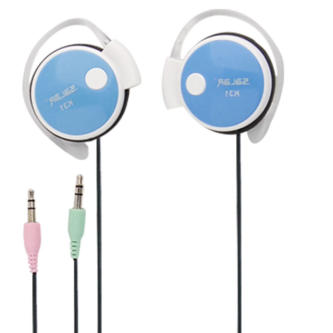 3.5mm Audio Plug Hook Baby Blue Headset Microphone
