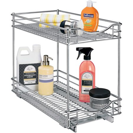 Lynk Professional Roll Out Double Shelf  Pull Out Two Tier Sliding Under Cabinet Organizer  11 W X 18 D  Chrome