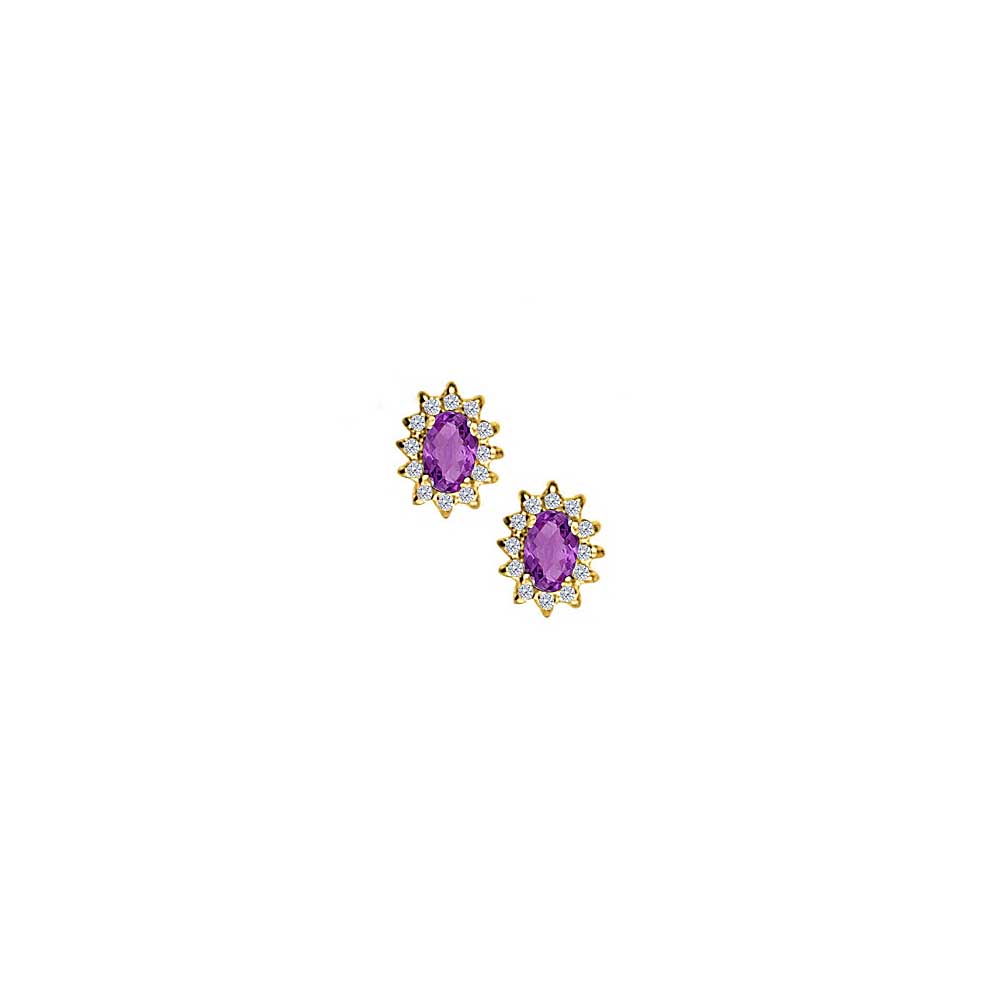 Fancy Oval Amethyst and CZ Halo Stud Earrings in 18K Yellow Gold Vermeil over 925 Silver - image 2 de 2