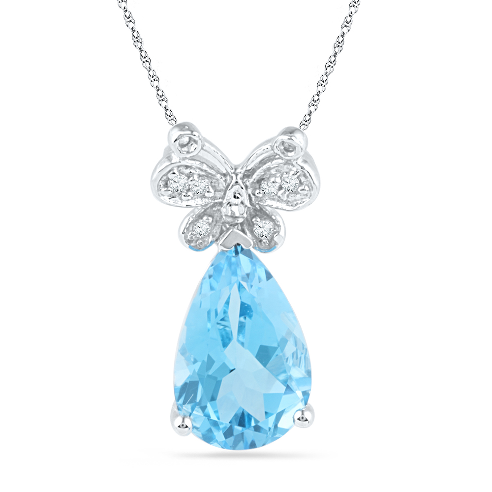 10kt White Gold Womens Pear Lab-Created Blue Topaz Butter...