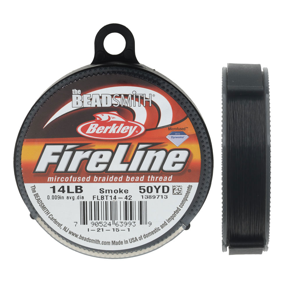 "FireLine Braided Beading Thread, 14lb Test and 0.009"" Thick, 50 Yard Spool, Smoke Gray"