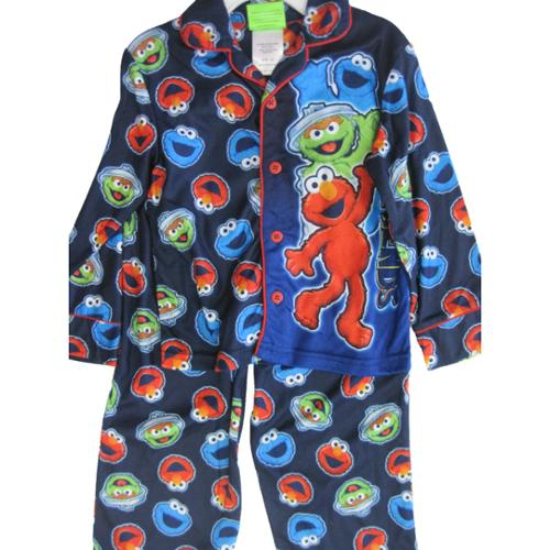 Sesame Street Little Boys Royal Blue Elmo Cookie Monster 2 Pc Pajama Set 4T