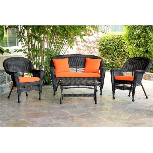 Jeco W00201-G-FS016 4 Piece Espresso Wicker Conversation Set - Brick Orange Cushions