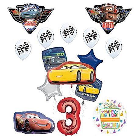 Disney Pixar Cars 3 3rd Birthday Party Supplies And Balloon Decorations