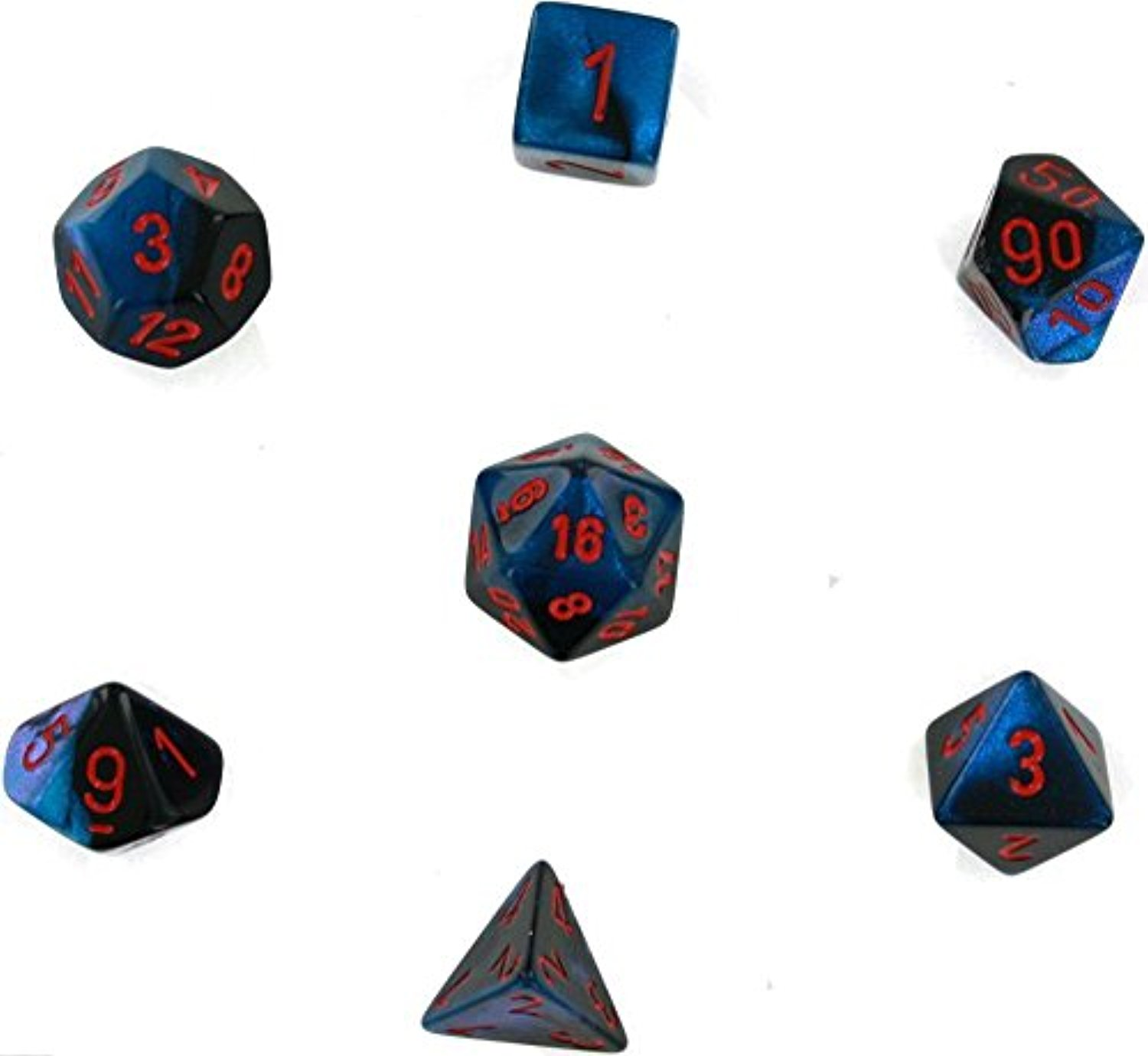 7-setCubeGemini#7 BK Starlight rd Chessex Gemini Polyhedral Die Set, Red/Black Manufacturing 26458CHX