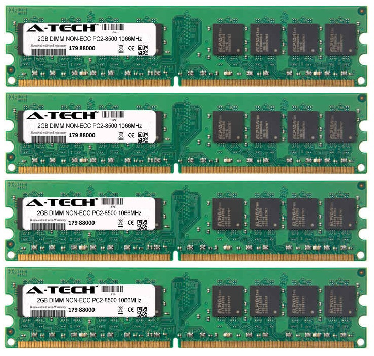 8GB Kit 4x 2GB Modules PC2-8500 1066MHz NON-ECC DDR2 DIMM Desktop 240-pin Memory Ram